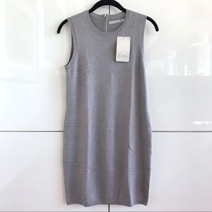 🆕 NWT Zara Knit Grey Back Zip Bodycon Dress